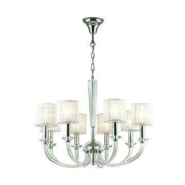 Подвесная люстра Odeon Light 4197/8, хром, прозрачный, белый, металл, стекло, текстиль