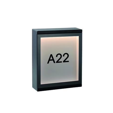Светодиодный светильник-указатель Lucide Cadra 27879/06/30, IP54, LED 6W 3000K 312lm, черный, металл со стеклом, стекло