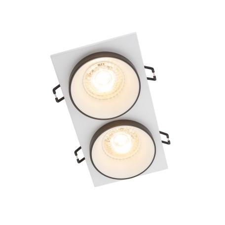 Встраиваемый светильник Denkirs DK2400 DK2422-BK, 2xGU10x50W, белый с черным, металл