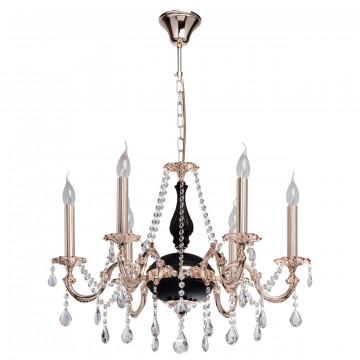 Подвесная люстра MW-Light Селена 482014406, 6xE14x40W, золото, черный, прозрачный, металл, хрусталь