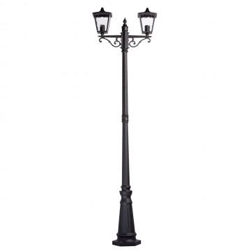 Уличный фонарь De Markt Телаур 806040602, IP44, 2xE27x60W, черный, матовый, металл, стекло