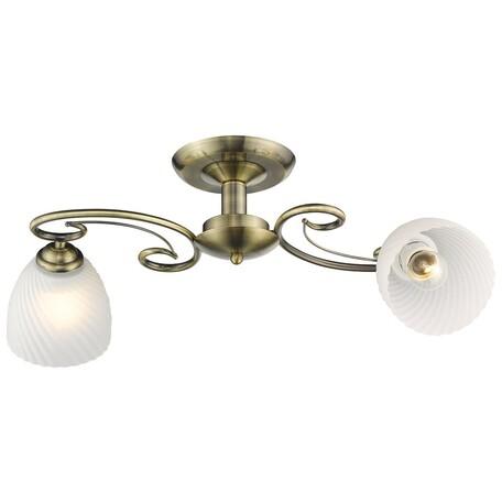 Потолочный светильник Velante 726-507-02, 2xE27x60W, бронза, белый, металл, стекло