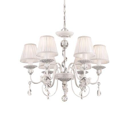Потолочно-подвесная люстра Maytoni Elina ARM222-06-N, 6xE14x40W, белый, серебро, прозрачный, металл, текстиль, хрусталь