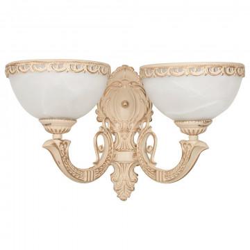 Бра Nowodvorski Olimpia 4357, 2xE27x60W, бежевый с золотой патиной, белый, металл, стекло