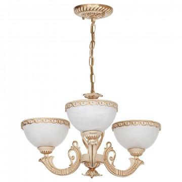 Подвесная люстра Nowodvorski Olimpia 4353, 3xE27x60W, бежевый с золотой патиной, белый, металл, стекло