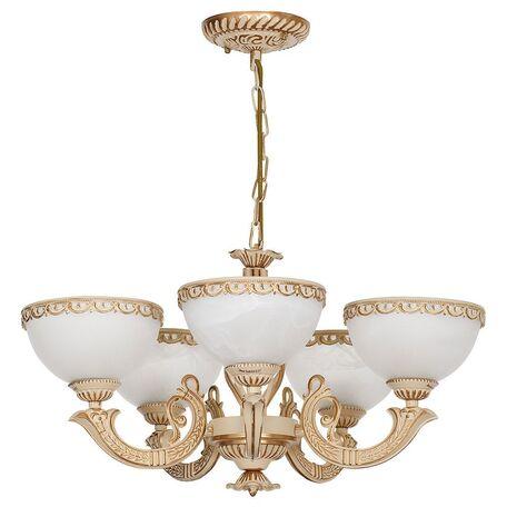 Подвесная люстра Nowodvorski Olimpia 4354, 5xE27x60W, бежевый с золотой патиной, белый, металл, стекло