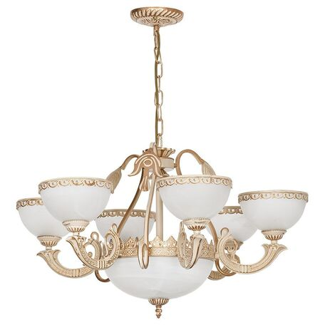 Подвесная люстра Nowodvorski Olimpia 4355, 9xE27x60W, бежевый с золотой патиной, белый, металл, стекло