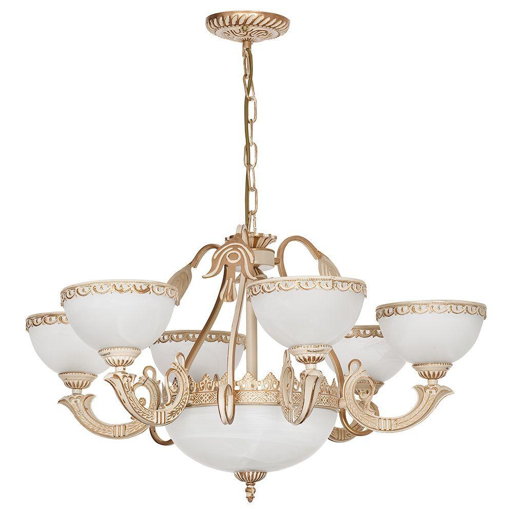 Подвесная люстра Nowodvorski Olimpia 4355, 9xE27x60W, бежевый с золотой патиной, белый, металл, стекло - фото 1