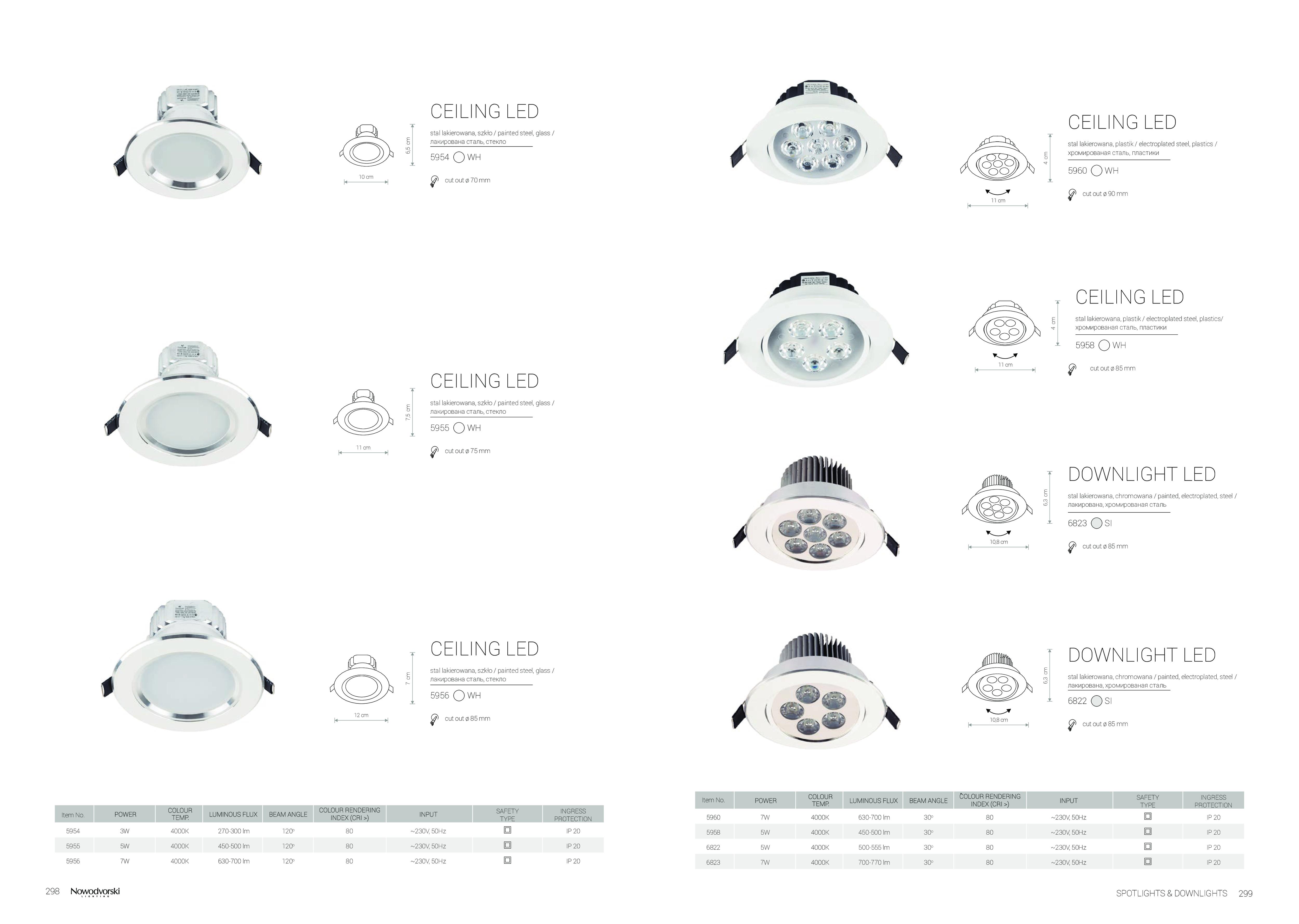 Встраиваемый светодиодный светильник Nowodvorski Ceiling LED 5958, LED 5W 4000K 450~500lm, белый, металл, металл с пластиком - фото 6