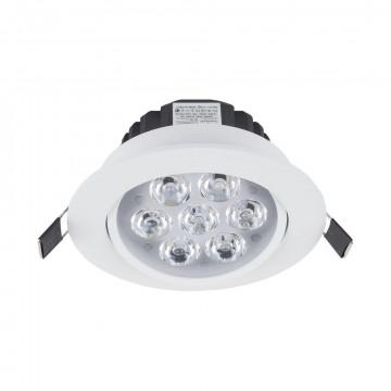 Встраиваемый светодиодный светильник Nowodvorski Ceiling LED 5960, LED 7W 4000K 630~700lm, белый, белый с прозрачным, прозрачный с белым, металл, металл с пластиком