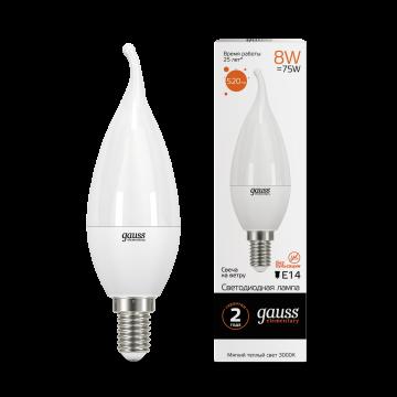Светодиодная лампа Gauss Elementary 34118 свеча на ветру E14 8W, 3000K (теплый) CRI>80 180-240V, гарантия 2 года