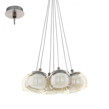 Подвесная светодиодная люстра Eglo Poldras 94328, LED 23,1W, 3000K (теплый), никель, белый, янтарь, металл, стекло