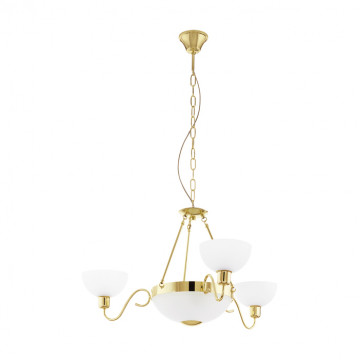 Подвесная люстра Eglo Savoy 1 95915, 5xE27x60W, золото, белый, металл, стекло
