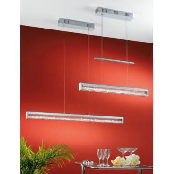 Подвесной светодиодный светильник Eglo Cardito 90928, LED 24W, 3000K (теплый), хром, прозрачный, металл, стекло, хрусталь