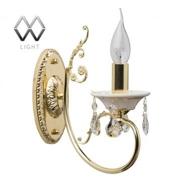 Бра MW-light 301028001 Свеча, самородное золото, молочно-белый, прозрачный