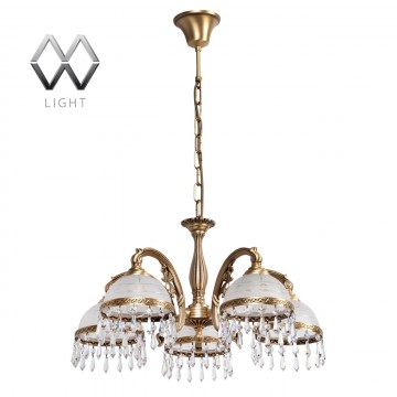 Подвесная люстра MW-Light Ангел 295016405, латунь, матовый, прозрачный, металл, стекло, хрусталь