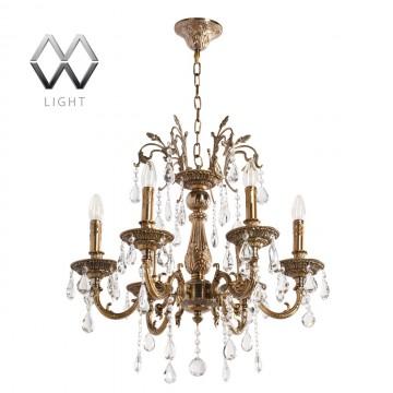 Подвесная люстра MW-Light Свеча 301013506, бронза золотистая, прозрачный, металл, хрусталь