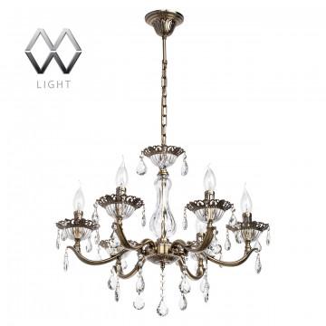 Подвесная люстра MW-Light Свеча 301015006, бронза, прозрачный, металл, стекло, хрусталь