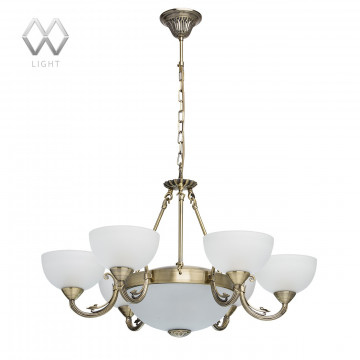 Подвесная люстра MW-Light Олимп 318011408, бронза, металл, стекло