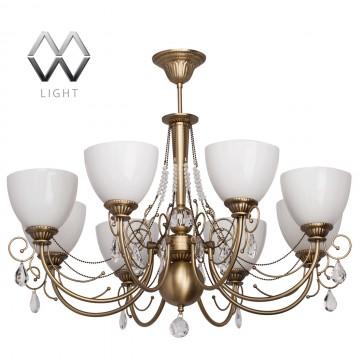 Подвесная люстра MW-Light Фелиция 347016608, бронза, прозрачный, белый, металл, хрусталь, стекло
