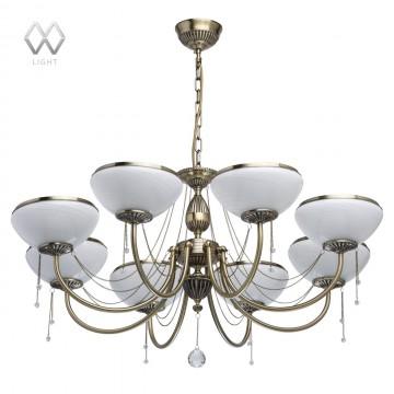 Подвесная люстра MW-Light Фелиция 347019208, бронза, белый, прозрачный, металл, стекло, хрусталь