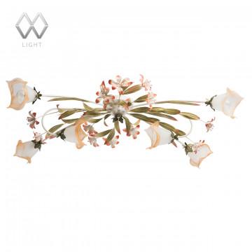 Потолочная люстра MW-Light Восторг 1340506, 6xE14x60W, белый, зеленый, розовый, матовый, оранжевый, металл, стекло