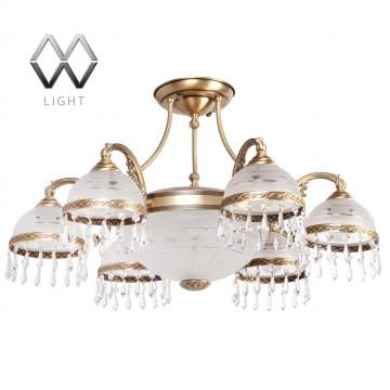 Потолочная люстра MW-Light Ангел 295016008, латунь, матовый, прозрачный, металл, стекло, хрусталь