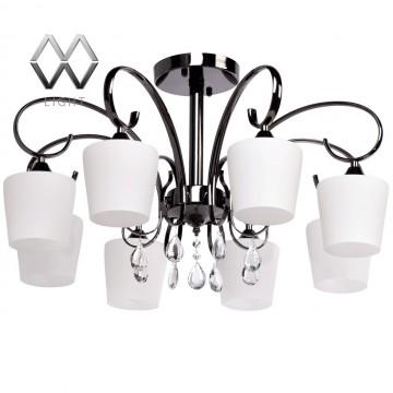 Потолочная люстра MW-Light Блеск 315011308, черный хром, белый, прозрачный, металл, стекло, хрусталь