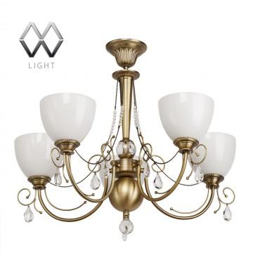 Потолочная люстра MW-Light Фелиция 347016405, бронза, прозрачный, белый, металл, хрусталь, стекло