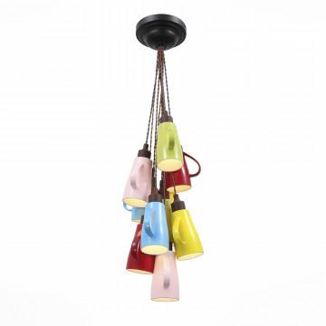 Люстра-каскад ST Luce Giullare SL300.673.10, 10xE27x40W, коричневый, разноцветный, металл, стекло