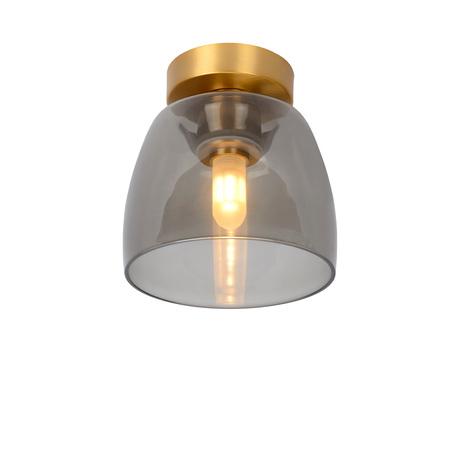 Потолочный светильник Lucide Tyler 30164/01/02, IP44, 1xG9x33W, матовое золото, дымчатый, металл, стекло
