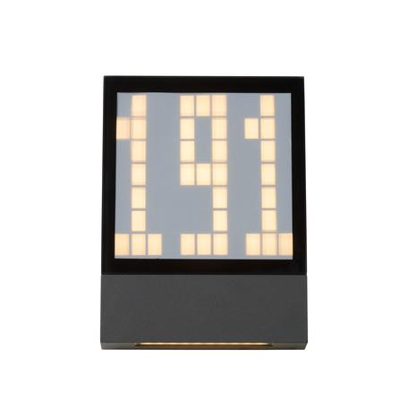 Светодиодный светильник-указатель Lucide Digit 27899/03/29, IP54, LED 3W 2700K 193lm CRI80, серый, металл со стеклом/пластиком