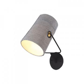 Бра с регулировкой направления света Favourite Studio 1246-1W, 1xE14x25W, черный, серый, металл, текстиль