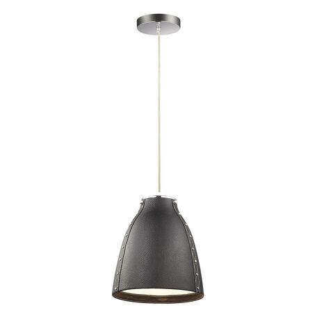 Подвесной светильник Favourite Haut 1365-1P, 1xE27x60W, хром, черный, металл, кожа/кожзам