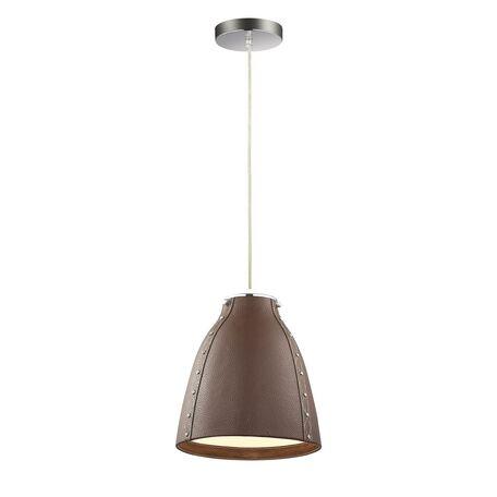 Подвесной светильник Favourite Haut 1366-1P, 1xE27x60W, хром, коричневый, металл, кожа/кожзам