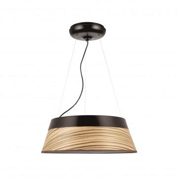 Потолочно-подвесной светильник Favourite Zebrano 1355-5PC, 5xE27x25W, черный, коричневый, металл, дерево, текстиль, пластик