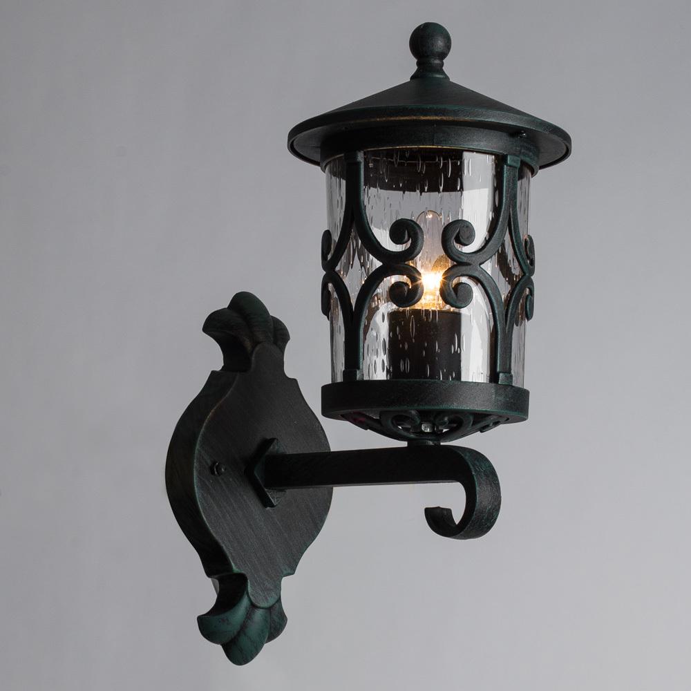 Настенный фонарь Arte Lamp Persia A1451AL-1BG, IP21, 1xE27x75W, бирюзовый, прозрачный, металл, стекло - фото 2