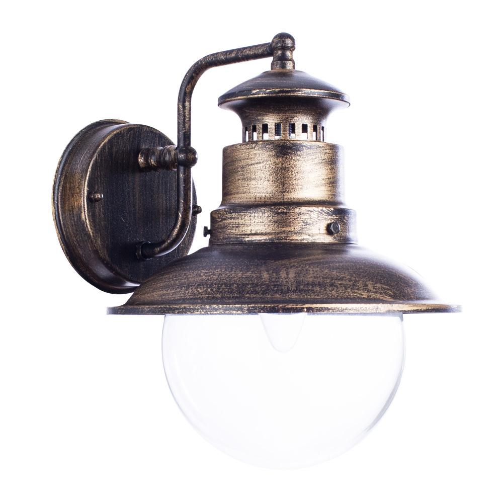 Настенный фонарь Arte Lamp Amsterdam A1523AL-1BN, IP44, 1xE27x60W, черненое золото, прозрачный, черный с золотой патиной, металл, металл со стеклом - фото 1