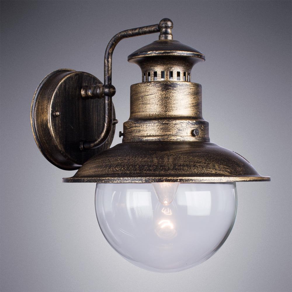 Настенный фонарь Arte Lamp Amsterdam A1523AL-1BN, IP44, 1xE27x60W, черненое золото, прозрачный, черный с золотой патиной, металл, металл со стеклом - фото 2