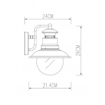 Схема с размерами Arte Lamp A1523AL-1BN