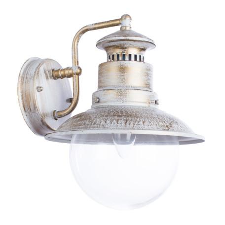 Настенный фонарь Arte Lamp Amsterdam A1523AL-1WG, IP44, 1xE27x60W, белый с золотой патиной, прозрачный, металл, стекло