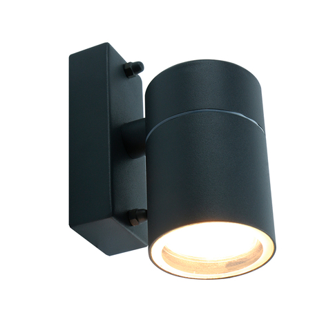 Настенный светильник Arte Lamp Instyle Mistero A3302AL-1GY, IP44, 1xGU10x35W, темно-серый, металл, стекло