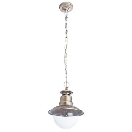 Подвесной светильник Arte Lamp Amsterdam A1523SO-1WG, IP44, 1xE27x60W, белый с золотой патиной, прозрачный, металл, стекло