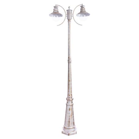 Уличный фонарь Arte Lamp Amsterdam A1523PA-2WG, IP44, 2xE27x60W, белый с золотой патиной, прозрачный, металл, стекло