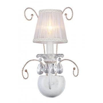 Бра Maytoni Uventa ARM257-01-G, 1xE14x40W, белый с золотой патиной, белый, прозрачный, металл с хрусталем, текстиль, стекло
