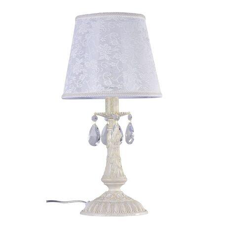 Настольная лампа Maytoni Filomena ARM390-00-W, 1xE14x40W, бежевый, белый, прозрачный, металл, пластик, текстиль, стекло