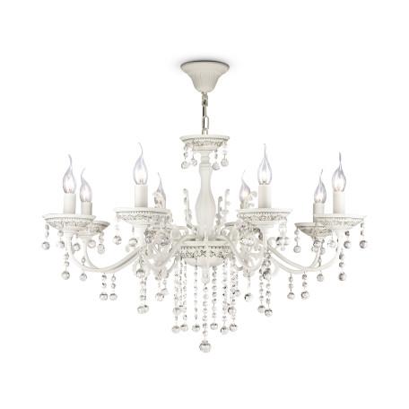 Подвесная люстра Maytoni Bellona ARM386-08-W, 8xE14x60W, белый, прозрачный, керамика, металл, хрусталь