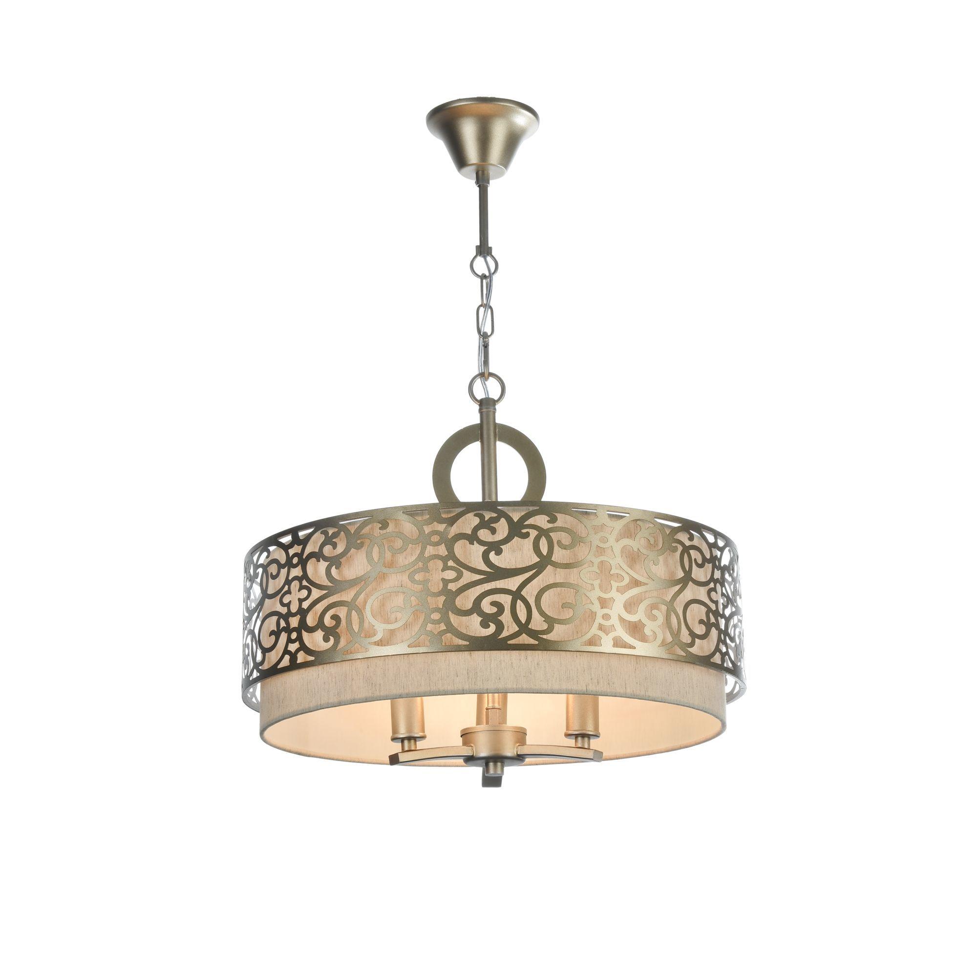 Подвесная люстра Maytoni Classic House Venera H260-03-N, 3xE14x40W, бронза, металл, металл с текстилем, текстиль с металлом - фото 2