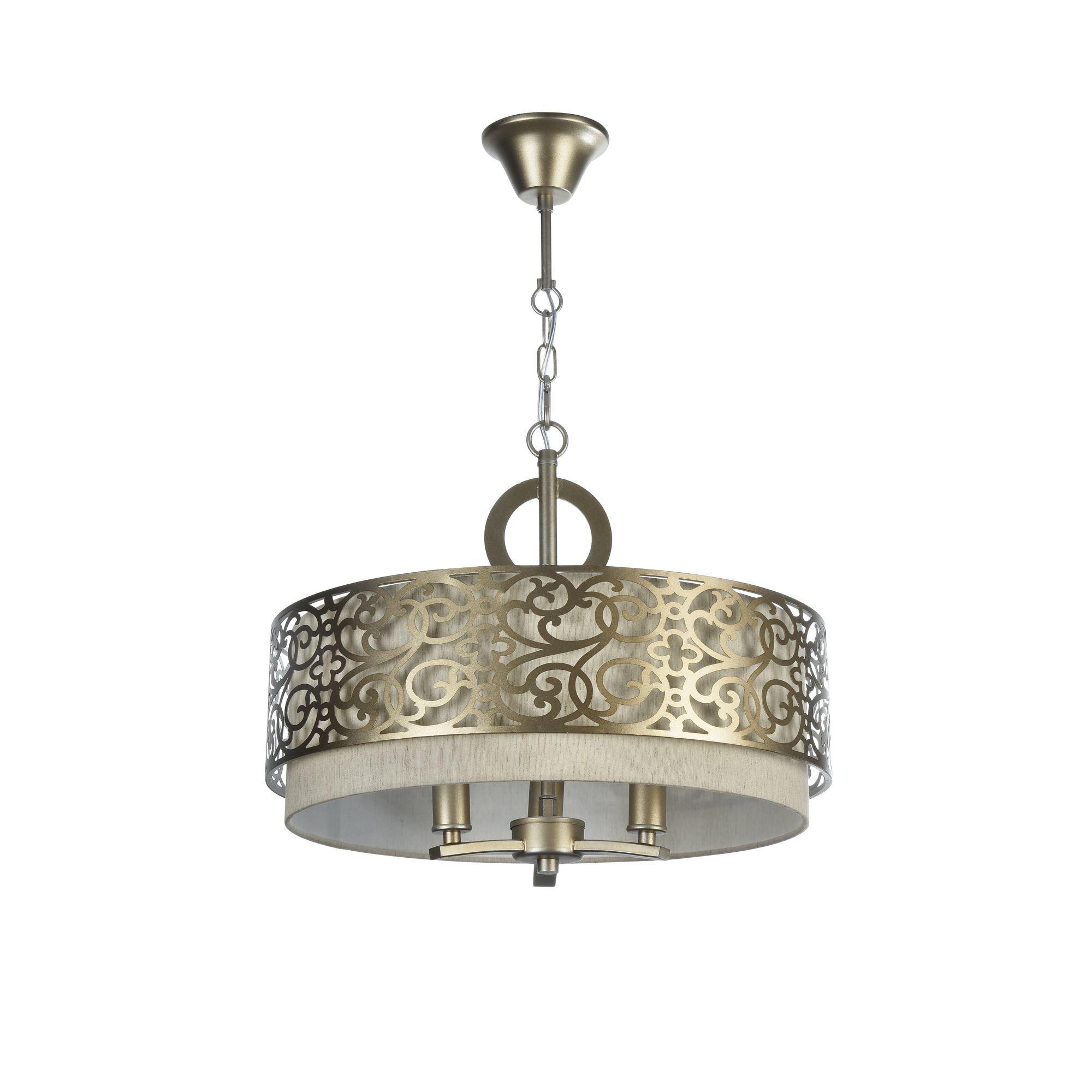 Подвесная люстра Maytoni Classic House Venera H260-03-N, 3xE14x40W, бронза, металл, металл с текстилем, текстиль с металлом - фото 3