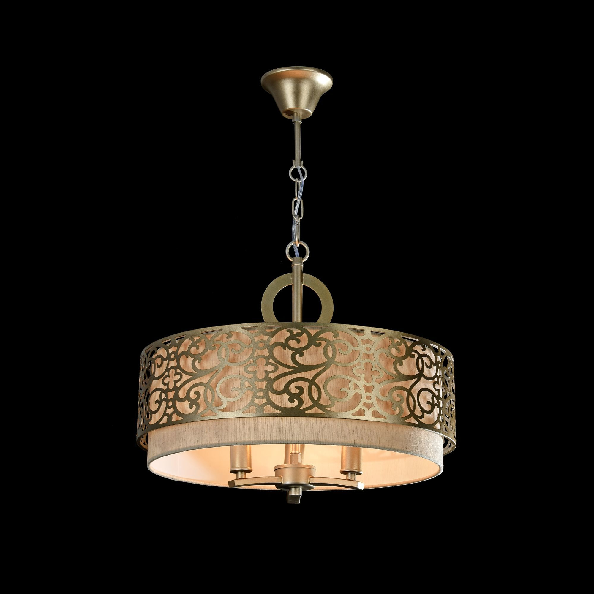 Подвесная люстра Maytoni Classic House Venera H260-03-N, 3xE14x40W, бронза, металл, металл с текстилем, текстиль с металлом - фото 4
